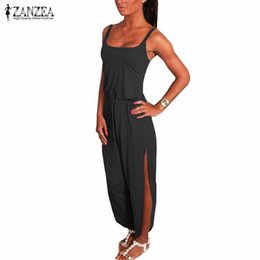 Wholesale Wholesale Sexy Jumpsuit - Wholesale- New ZANZEA Overalls 2016 Summer Rompers Womens Jumpsuit Sexy Spaghetti Strap Sleeveless Split Overalls Long Playsuit Plus Size