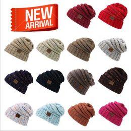 Wholesale Hat Mix - CC Hat Winter Fashion Cap Mixed Knit Girl Cap Skullies Beanies Outdoor Leisure Warm Hat YYA413