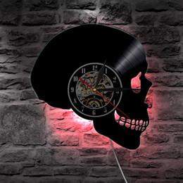 apliques de parede originais Desconto Crânio artesanal DIODO EMISSOR de Luz Registro de Vinil Relógio de Parede Original Wall Art Grande Presente, LED Flash Light, Relógio de Parede de vinil