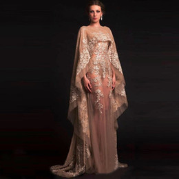 Wholesale Water Decal Vintage - 2017 Unique Arabic kaftan champagne chiffon gown sexy transparent decals evening dress in dubai and dubai party shawl robes 604