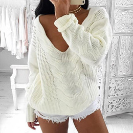 Wholesale Women S Outerwear Sale - 2017092211 Autumn New Long Sleeve Solid White Women Outerwear Knitted Sweater Hot Sale Casual Loose Sweater Women Pullovers