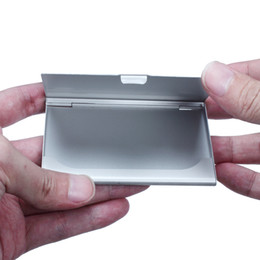 Бесплатные бизнес-кейсы онлайн-Горячий Серебряный карманный бизнес имя кредитной ID карты держатель металлический алюминиевый ящик чехол Оптовая бесплатная доставка