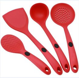 Wholesale Heated Suit - 4pcs set Red Black Silicone Kitchenware Suit Not Sticky Pot Heat Resistant Shovel Spoon Cooking Utensils In Stock CCA7476 100set