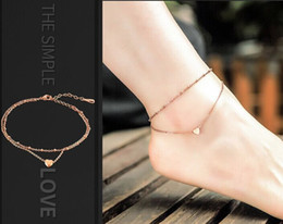 Wholesale Gold Heart Anklets - Fashion double layer of love beach anklet titanium steel heart gift ornaments