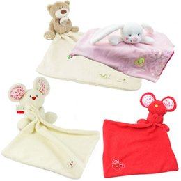 Wholesale Animal Comforters - Wholesale- 1pc Baby Comforter Toy Cute Cartoon Animal Mouse bear Soft Plush Rattle with Ring Bell Multifunctional Saliva towel Baby Care