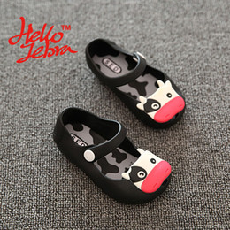 Wholesale Leather Dairies - Children Lovely Dairy Cows Sandals Rain Boots Cute Kids Girls Babies Toddle Jelly Cartoon Shoes 2016 New kinderen regenlaarzen Lovely Cows
