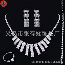 Wholesale Cheap Silver Bangles - 2016 Cheap Sliver Rhinestone Bridal Jewelry Set Bling Beaded Wedding Party Earring Bracelet Necklace Jewel Set Birdal Accessories