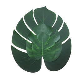Wholesale Hawaii Flowers Free Shipping - Artificial Tropical Palm Leaves for Hawaii Luau Party Decorations Beach Theme Wedding Table Decoration Free Shipping ZA5503