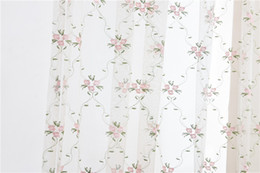 Wholesale Valances For Windows - New Rural style embroidered sheer curtains window curtain drapes valances for living room bedroom cortinas para sala