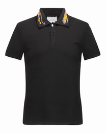 Wholesale black men street clothes - 2017 Spring luxury Italy T-shirt tee Polo High street whtie embroidery garter Snakes Little bee printing fashion clothing Brand polo shirt