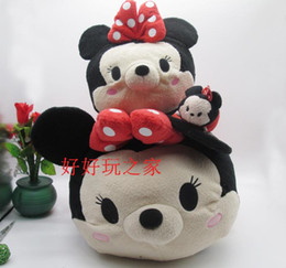 Wholesale Toys Bear Biggest - Wholesale- Big Original 58cm TSUM TSUM Minnie Mouse Mickey Mouse Bear Cute Biggest Stuff Plush Toy Girl Birthday Gift