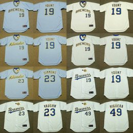 Wholesale Robin Baseball - Milwaukee Brewers 2017 Men's #19 ROBIN YOUNT #23 GREG VAUGHN #49 TEDDY HIGUERA Throwback Baseball Home And Away Jerseys Stitched