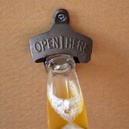 Wholesale Vintage Bottle Holder - Wall Mounted Bottle Openers Vintage Cast Iron Wine Soda Beer Cap Opener Holder with Screws Bar Tools