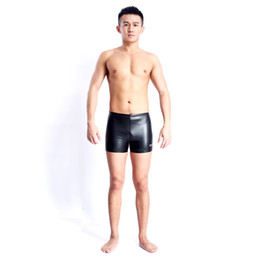 Wholesale Tight Swimming Suit - Wholesale- Man PU Arena Swimwear Competition Swimsuit Men Competitive Bathing suit training swimming pants sport Tight Shorts Black S-5XL