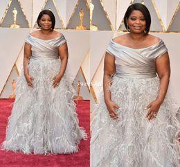 Wholesale Octavia Dress - Elegant Octavia Spencer Oscars Evening Dresses Silver Off Shoulder with Feather Beading Long 2017 Plus Size Occasion Gowns Celebrity Dress