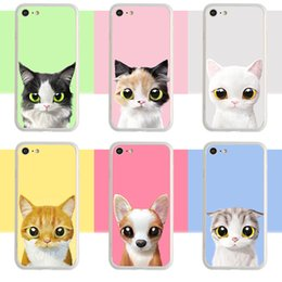 Wholesale Iphone Frosted Cartoon Case - 2 in 1 frosting hard PC cell phone Case For iPhone 6S 7 Plus case cartoon cat ultra thin TPU painting back silicone phone cover shell
