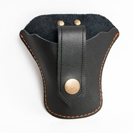 Wholesale Leather Shooting Bag - Hunting Slingshot Holster Cow Leather Sling Shot Bags Outdoor Archery Sling Shot Pouch With Strap Black Bottom Open