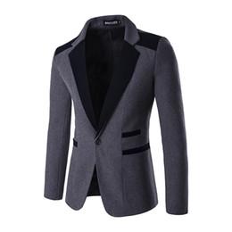 Wholesale Red Dress Coat For Men - Wholesale- Mens Blazer Jackets 2016 Fashion Slim Fit Wedding Dress Suits For Men Singe Button Navy Black Red Woolen Tuxedos Coats Male