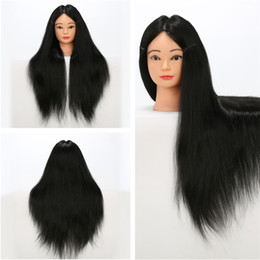 Wholesale Wig Mannequin Heads For Sale - New Arrival Mannequin Heads Black Color Cosmetology Mannequin Head Synthetic and Animal Mixture Hair For Hairdressing No Shedding For Sale