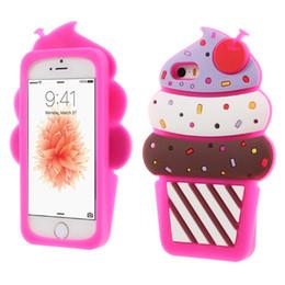 Wholesale Cream Casing Wholesaler - 3D Cute Cherry ice cream Soft Silicone Phone Cover Back Case For Iphone 5s 6 6s plus 7 7plus Samsung S6 S6 edge S7 S7 Edge