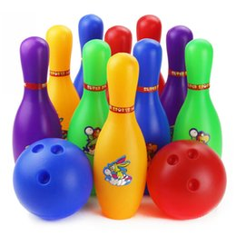 Wholesale Family Fun Party - Wholesale- Colorful Standard 12 Piece Bowling Set w  10 Pins, 2 Bowling Balls Children Kids Educational Toy Party Fun Family Game (Large)
