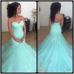 Wholesale Mint Mermaid Tulle Prom Dress - Mint Green Mermaid Prom Dresses Sweetheart Appliques Satin Tulle Evening Party Gowns Mermaid vestido de formatura