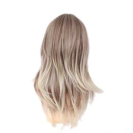 mistura de cor de cabelo castanho preto Desconto Perucas de cabelo sintético (For Black) WoodFestival mulheres peruca longa reta cabelo castanho preto loiro cor misturada resistente ao calor perucas