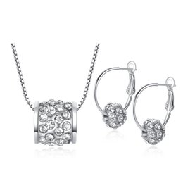 Wholesale Silver Jewellery Necklace Sets - Charm Necklace Jewellery New Fine Women Romantic Heart Cherry Ball AAA Zircon Wedding Jewelry Earring Necklace Bridal Jewelry Set