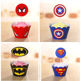 Wholesale Kids Birthday Cakes - Wholesale-48pcs Heros League Cupcake Toppers Cake Wrappers Picks Birthday Party Decorations Kids Party Supplies 24 wrappers and 24 toppers