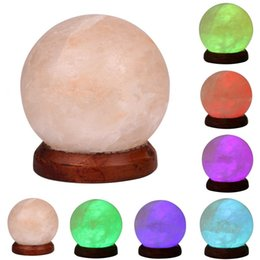 Wholesale Himalayan Crystal Salt Lamp - Wholesale- Himalayan Salt Lamp 3W USB LED Night Light Table Desk Lamp Crystal Rock Carved Sphere 7 Color Changing Lights Decorations 220V