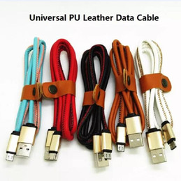 Wholesale Head Cable - PU leather metal head fast charge cable 1M 3ft Micro USB for samsung S7 LG mobile luxury cable