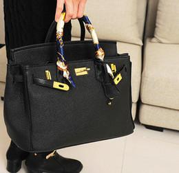Wholesale Gold Hardware - Wholesale- Hot fashion classic design locks platinum package candy color elegant women's handbag shoulder bag golden hardware bags 35 cm