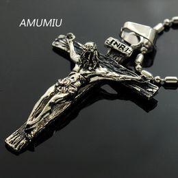 Wholesale Vintage Rhinestone Cross Necklace - Amumiu Inri Jesus Piece Trendy Punk Vintage Cross Gift Men 316l Stainless Steel Necklace Pendant High Quality Kp164