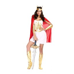 Wholesale Goddess Sexy Clothing - Greek Costumes For Women Sexy Goddess Costume 2016 Halloween Fancy Dress Roman Greece Warrior Cosplay Clothes Women