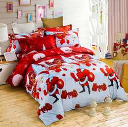 Wholesale Christmas Bedding Sets Queen - Happy Christmas 3pcs Duvet Cover Sets 3D Cartoon Kids Children Bedding Sets Santa Claus Gift Duvet Cover & Pillowcase Twin Queen King Size