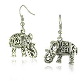 Wholesale gold elephant earrings - Fashion Women's Ear Stud Hot Unique Tibetan Silver Filigree Carved Elephant Drop Dangle Earrings Jewelry Earing Earring Ear Ring Access