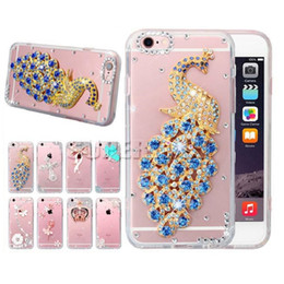 Wholesale Iphone Case 3d Crystals - For iPhone 6 Luxury Diamond Case Soft 3D Rhinestone Case Handmade Crystal Glitter Clear Case For Gaxaly S7 with OPP Package