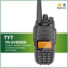 Wholesale Dual Walkie - Wholesale- Upgrade Version Original TYT TH-UV8000D Portable Radio Walkie Talkie Amateur Handheld Transceiver Dual Band 10W Two Way Radio