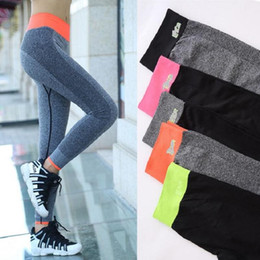 Wholesale Yoga Pants Free Shipping - 2017 Sex High Waist Stretched Sports Pants Gym Clothes Spandex Running Tights Women Sports Leggings Fitness Yoga Pants Free Shipping