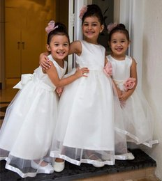 Wholesale Daminha Organza - Fast Shipping Flower Girl Dresses For Weddings 2017 Jewel Bow White Ankle Length First Communion Dress Pageant Gowns Vestido Daminha