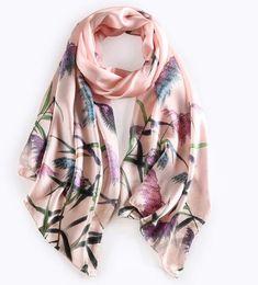 Wholesale Digital Print Silk Scarves - [RSSILK] 175X52CM Women fashion floral silk scarf female hand rolled hem silk scarf digital print silk scarves pashmina female