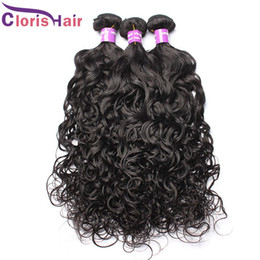 Wholesale Black Brazillian Hair - Brazilian Water Wave Hair Weave Bundles Wet And Wavy Brazillian Curly Hair 4pcs Sew In Human Hair Extensions For Black Women