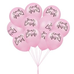 Wholesale Latex Balloons Letters - 10pcs Team Bride Latex Balloon For Wedding hen Night party Bridal Shower Decoration Letter balloons Bachelorette Party Supplies