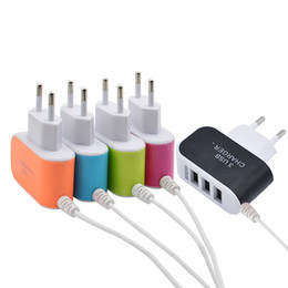 Wholesale power cable for ac adapter - NEW 3.1A 3 in 1 Port USB EU Plug Home Travel Wall Charger AC Power Adapter With Cable for Phone