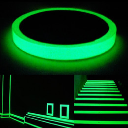 Wholesale Self Adhesive Strip Lights - Green Reflective Film Tape Fluorescence Self-adhesive Sticker Night Luminous Tape Strip Decal Decoration for Stair Door (Color: Green