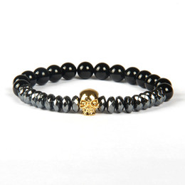 Wholesale Rhombus Ring - Fashion Jewelry Wholesale 8mm A Grade Black Onyx Stone Beads with Rhombus Cut Hematite Beads Micro Pave Skull Bracelets