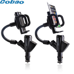 Wholesale Usb Mobile Phone Cigarette Lighter - Wholesale- Car Cigarette Lighter dual USB car charger for Smartphones iPhone Samsung Huawei Xiaomi charging mobile phone holder