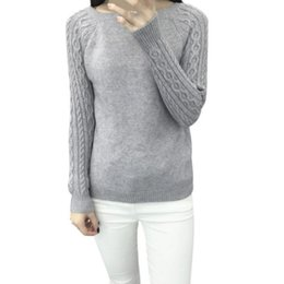 Wholesale Trendy Winter Sweaters - Wholesale- Winter Women Long Sleeve Gray Casual Sweaters Female Lover Trendy Solid Pull Femme Knitted Sweater