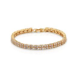 "Wholesale Yellow Diamonds Wholesale - Yellow Gold Tennis Bracelet Diamond Shiny Rhinestone Natural White Topaz Cubic Zirconia Wedding Gifts 7""inch BSL0000032"