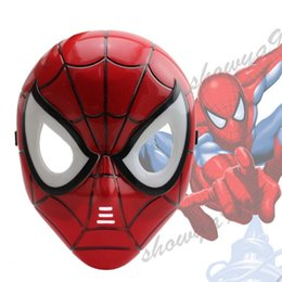 Wholesale Spider Man Mask Wholesale - Spider Man Mask LED Masquerade Children Full Face PVC Cosplay Animation Plastic Kids Beaming Mask Halloween Party Costume Accessories